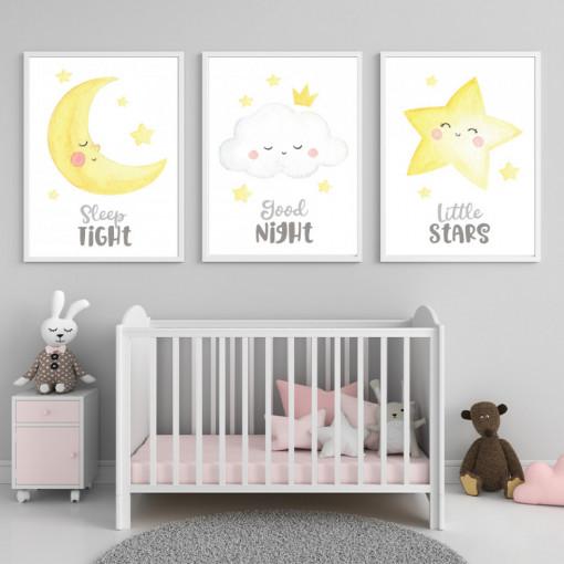 Set 3 tablouri - Luna, Nor, Steluta