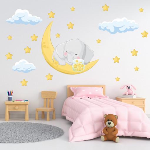 Set stickere decorative perete copii - Elefant cu stelute