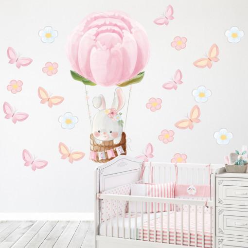 Set stickere decorative perete copii - Iepurasul zburator, 60x60cm