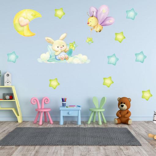 Set stickere decorative perete copii - Ursuletul si fluturasul, 60x60cm