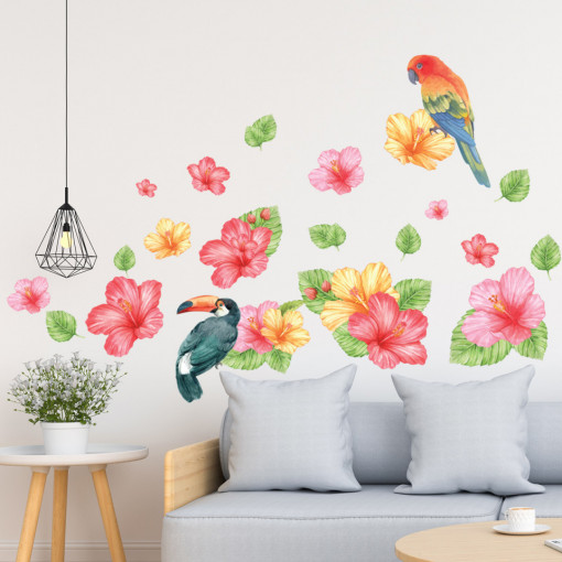 Set stickere decorative perete - Flori & Papagali, 60x90cm