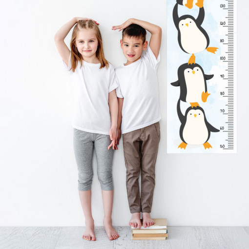 Sticker perete Masurator pentru copii - Pinguinii, 40x120 cm