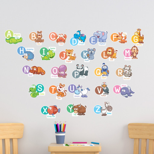 Stickere Educationale copii - Alfabetul si limba engleza, set 60x90cm
