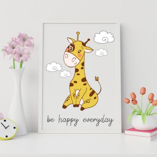 Tablou - Girafa - Be happy everyday