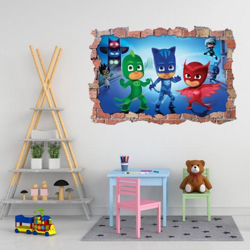 3D Sticker perete 60x90cm - Eroii in pijama,