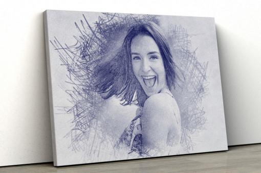 Canvas Personalizat - Efect Creion Albastru
