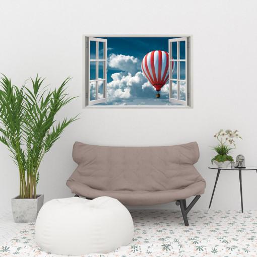 Fereastra 3D, Sticker perete - Peisaj cu balon cu aer cald