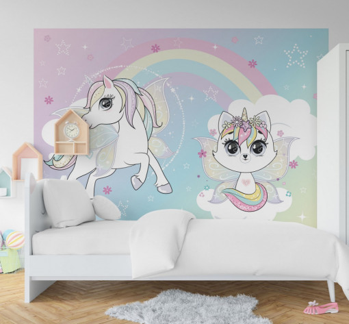 Fototapet autoadeziv copii - Unicornul si Pisicuta