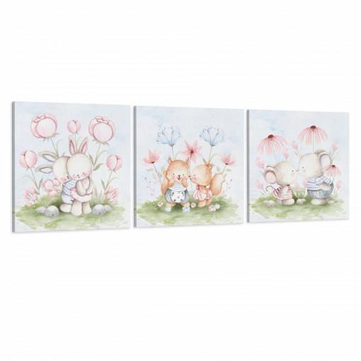 Set 3 Tablouri Canvas, Animalute iubitoare