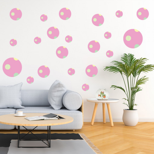 Set stickere decorative perete - Cercuri14, 60x60cm