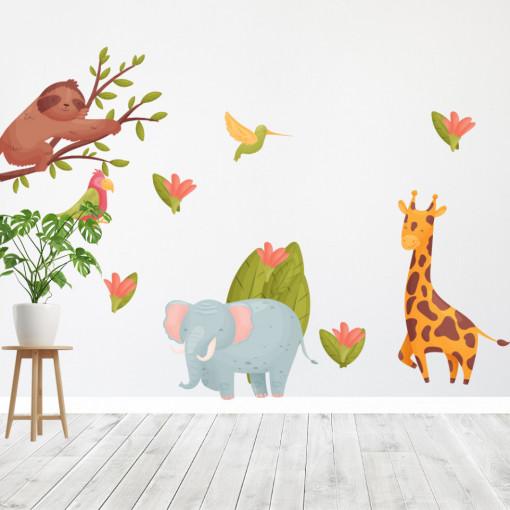 Set stickere decorative perete copii - Tropical animals, 60x90 cm