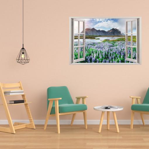 Fereastra 3D, Sticker perete - Peisaj cu munte si levantica