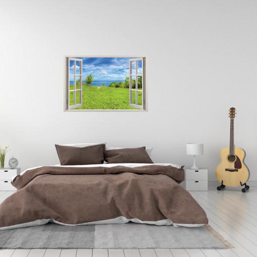 Fereastra 3D, Sticker perete - Peisaj cu ocean si camp verde