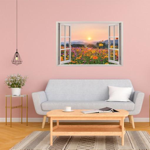 Fereastra 3D, Sticker perete - Peisaj cu un camp inflorit