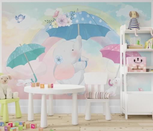 Fototapet autoadeziv copii - Elefantul cu iepurasi si umbrele