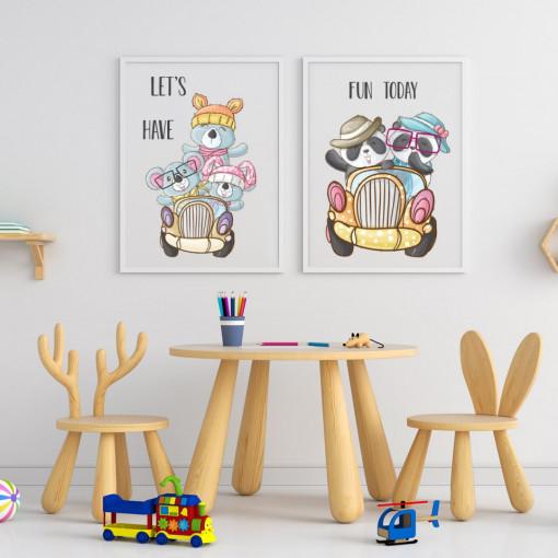 Set 2 tablouri - Ursuletii cu masinute