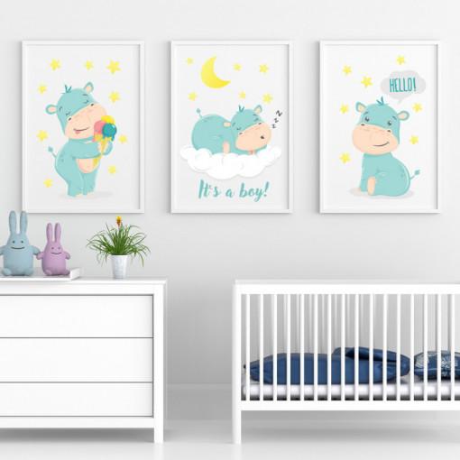 Set 3 tablouri - Hipopotamul It's a boy