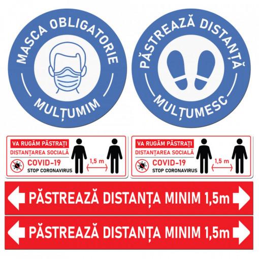 Set Stickere - Autocolante Informare si atentionare Coronavirus - Covid-19, Model 2