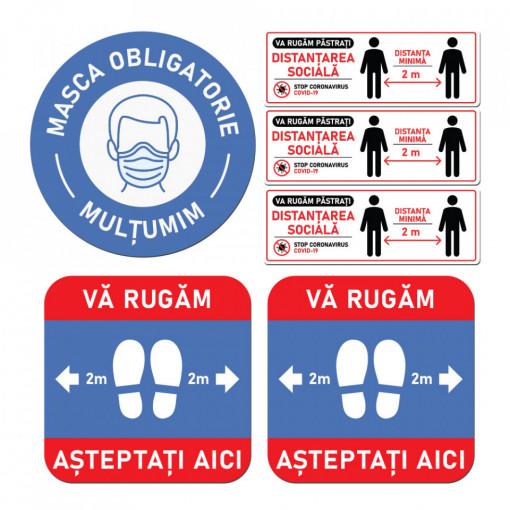 Set Stickere - Autocolante Informare si atentionare Coronavirus - Covid-19, Model 4
