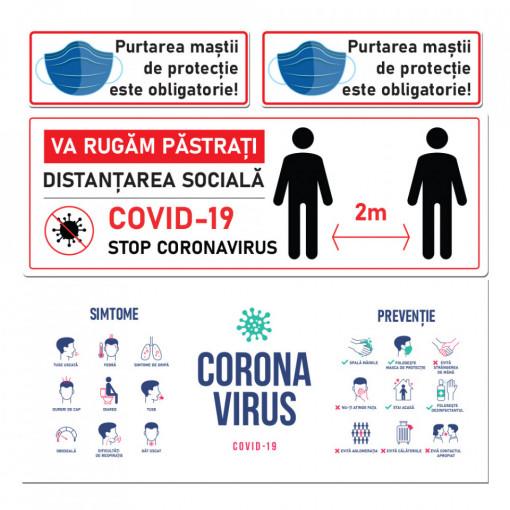Set Stickere - Autocolante Informare si atentionare Coronavirus - Covid-19, Model 10