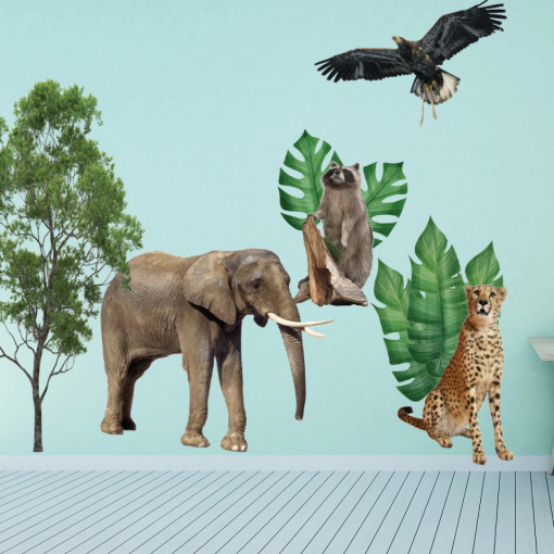 Set stickere decorative perete copii - Animalele Junglei7 , 60x90cm