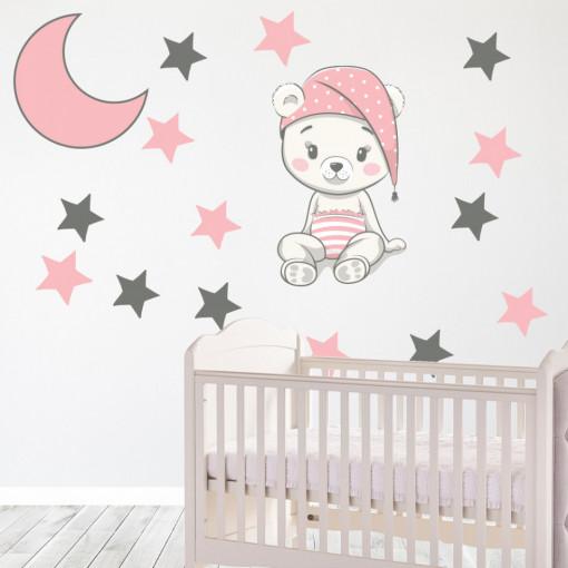 Set stickere decorative perete copii - Ursuletul somnoros-roz, 60x60cm