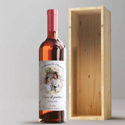 Sticla vin Personalizata - Poza, nume, data si doua texte