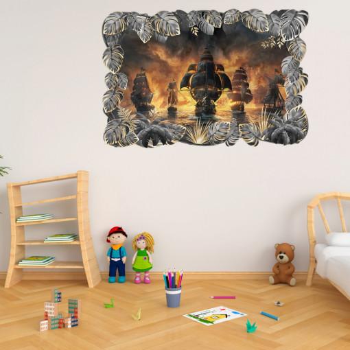 3D Sticker perete - Corabii de pirati