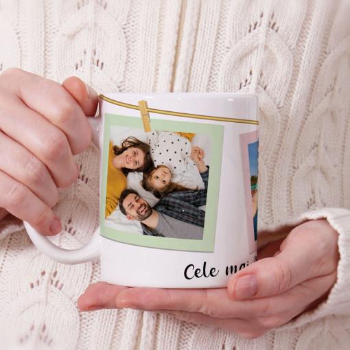 Cana personalizata cu mesaj si trei poze prinse in carlige