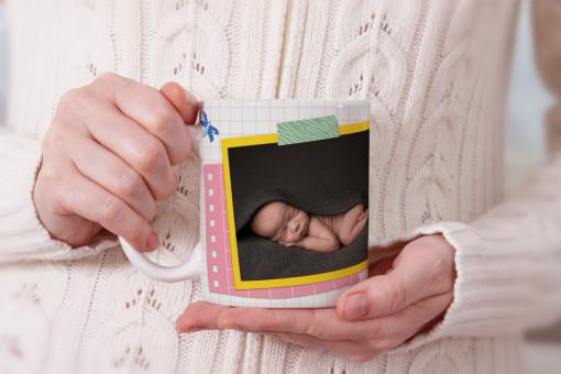 Cana personalizata cu poza si nume bebe