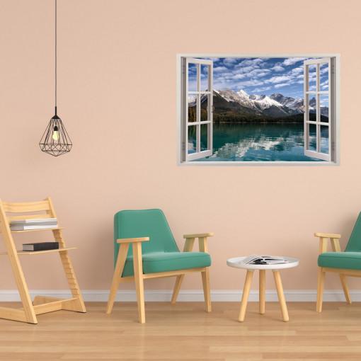 Fereastra 3D, Sticker perete - Peisaj cu munte si lac