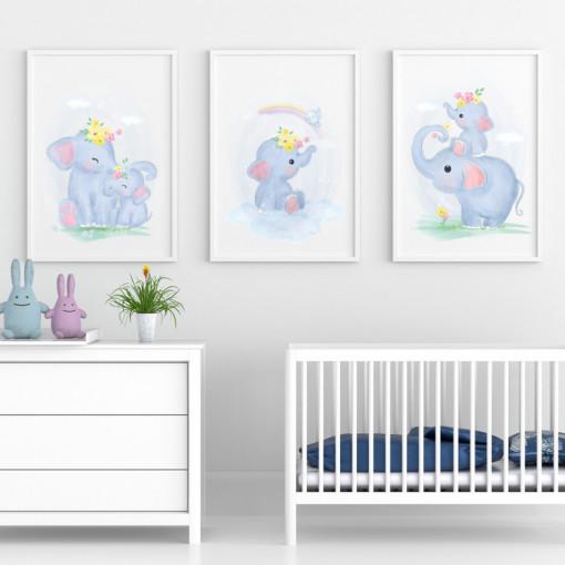Set 3 tablouri - Elefantul