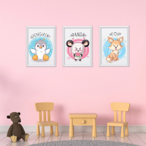 Set 3 tablouri - Pinguinul & Panda & Vulpita