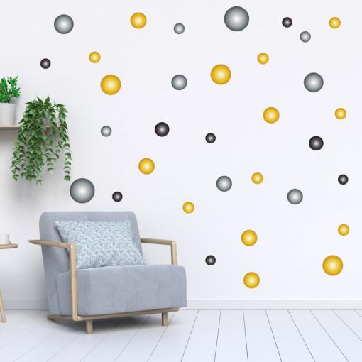 Set stickere decorative perete - Cercuri22, 60x60cm