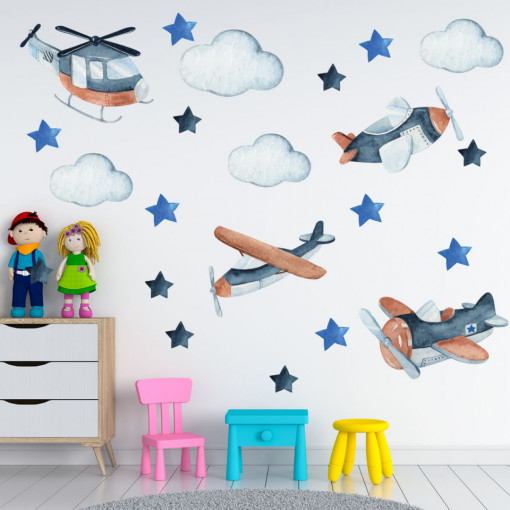 Set stickere decorative perete copii - Avioane si norisori, 60x90cm