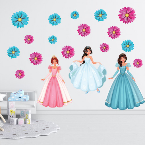 Set stickere decorative perete copii -Printesele, 60x90 cm