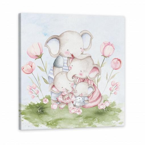 Tablou Canvas, Familia Elefantilor
