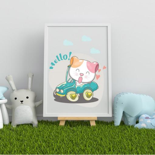 Tablou - Pisicuta cu masina