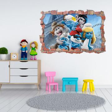 3D Sticker perete 60x90cm - Smurf