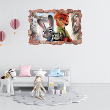 3D Sticker perete 60x90cm - Zootopia