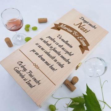 Cutie de vin dubla personalizata - Mesaj si nume