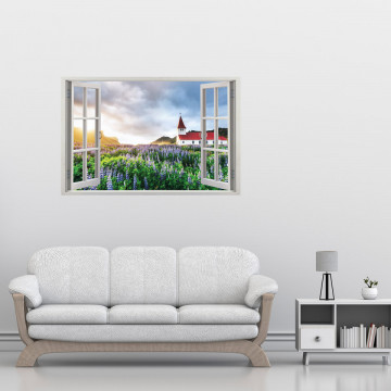 Fereastra 3D, Sticker perete - Peisaj cu levantica