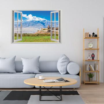 Fereastra 3D, Sticker perete - Peisaj cu o fortareata in munte