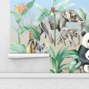 Fototapet autoadeziv copii - Animale Din Safari