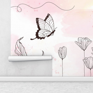 Fototapet autoadeziv - Fluturasul printre flori