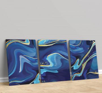 Set 3 Tablouri Canvas, Blue marble