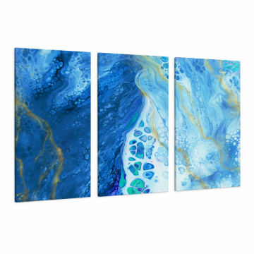 Set 3 Tablouri Canvas, Blue