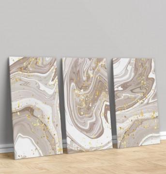 Set 3 Tablouri Canvas, Brown marble