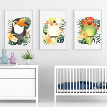 Set 3 tablouri - Papagalii
