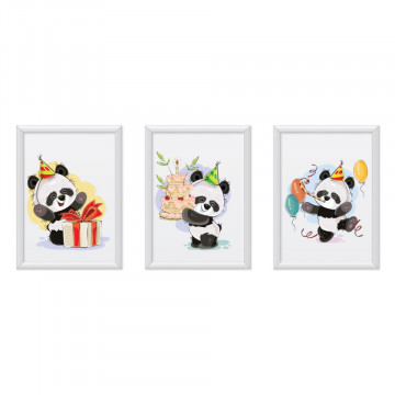 Set 3 tablouri - Ursuletii Panda Happy Birthday
